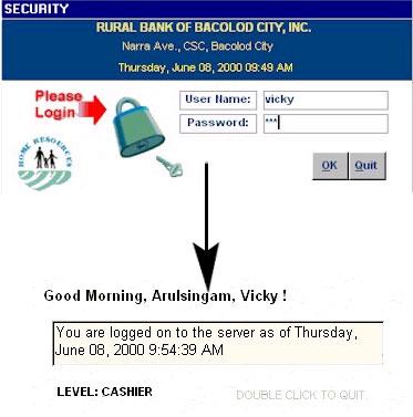 Cash Department Logon Screen